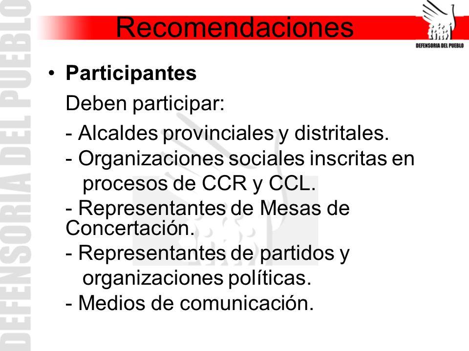 Recomendaciones Participantes Deben participar: