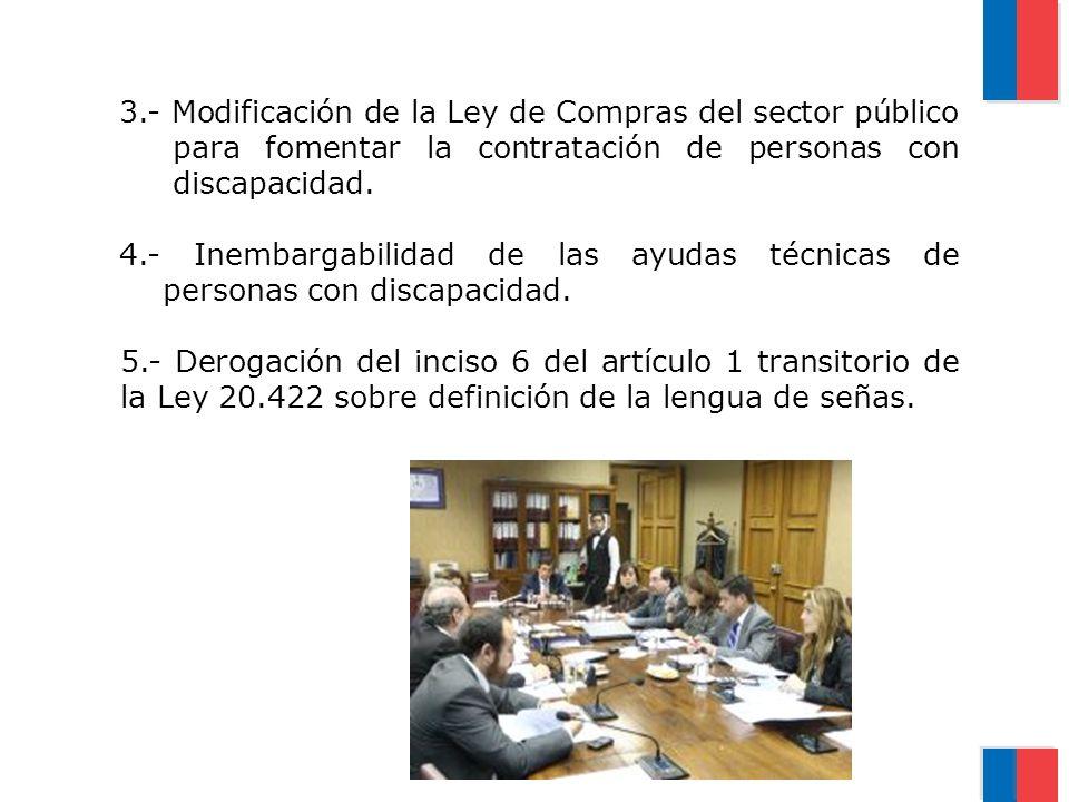 3.- Modificación de la Ley de Compras del sector público para fomentar la contratación de personas con discapacidad.