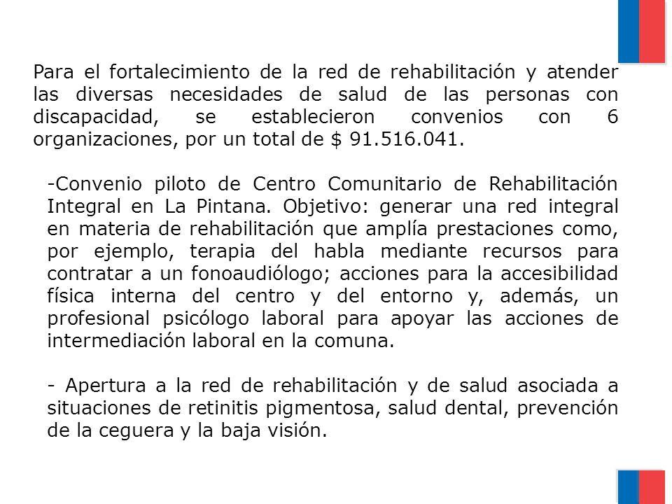 Para el fortalecimiento de la red de rehabilitación y atender las diversas necesidades de salud de las personas con discapacidad, se establecieron convenios con 6 organizaciones, por un total de $ 91.516.041.