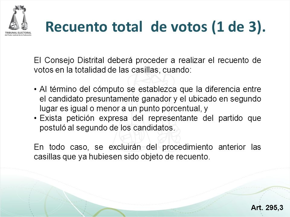 Recuento total de votos (1 de 3).