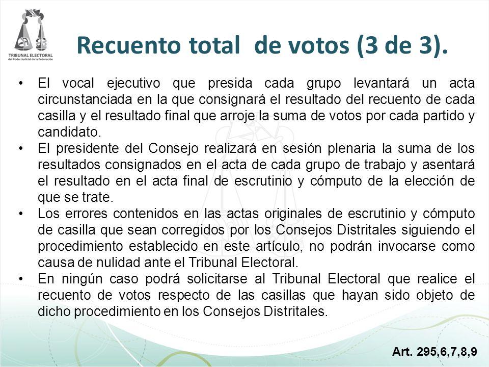 Recuento total de votos (3 de 3).