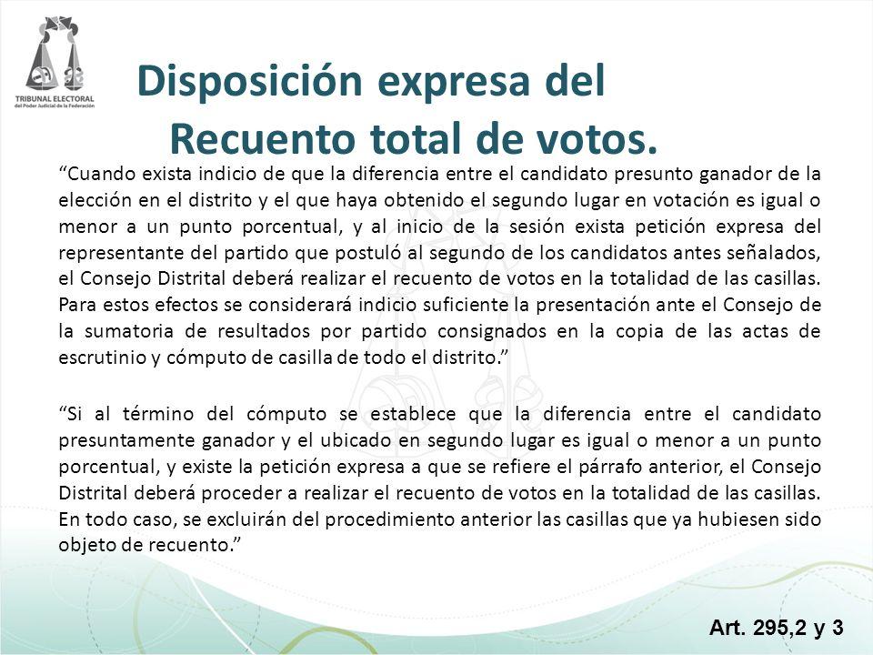 Disposición expresa del Recuento total de votos.