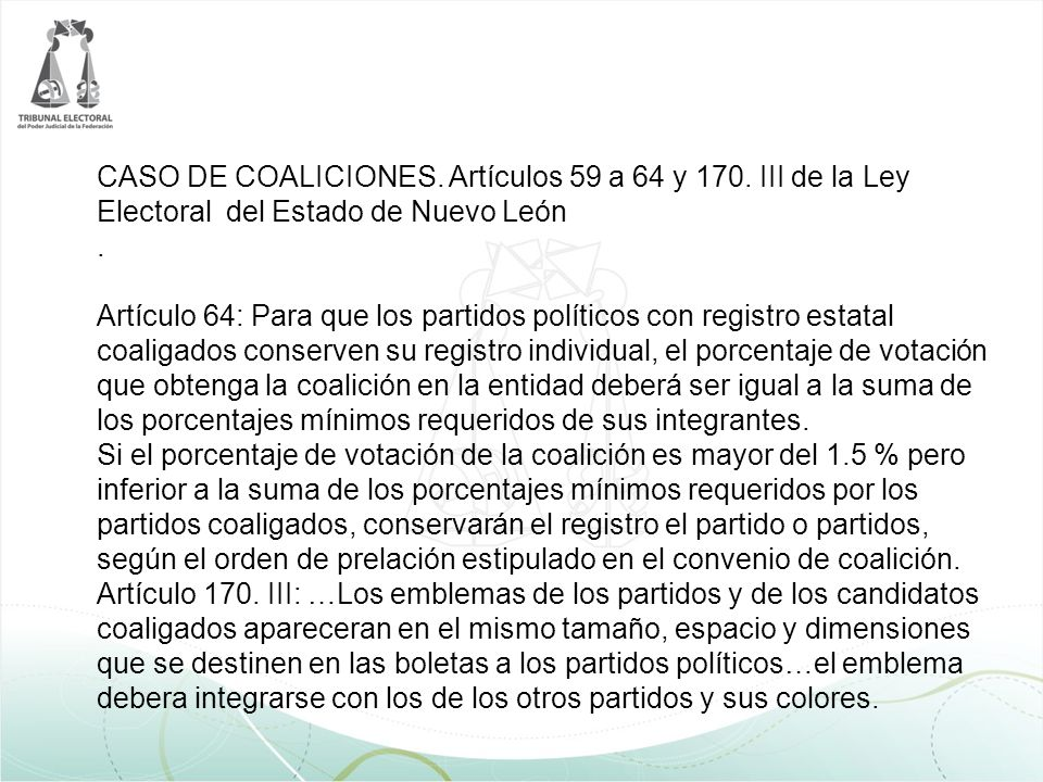 CASO DE COALICIONES. Artículos 59 a 64 y 170