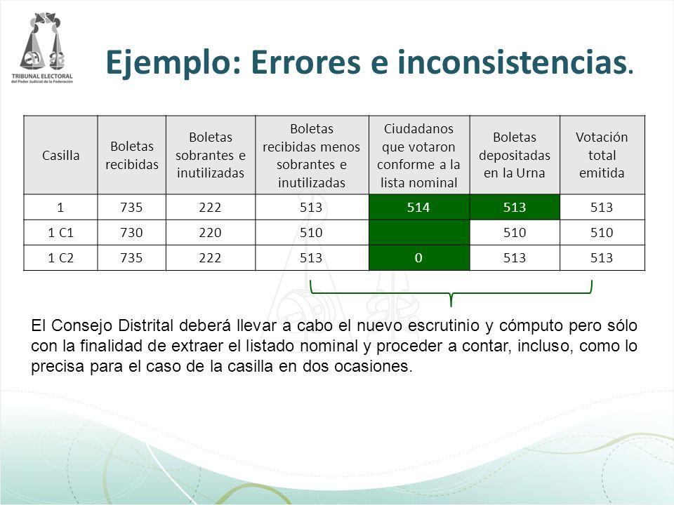 Ejemplo: Errores e inconsistencias.