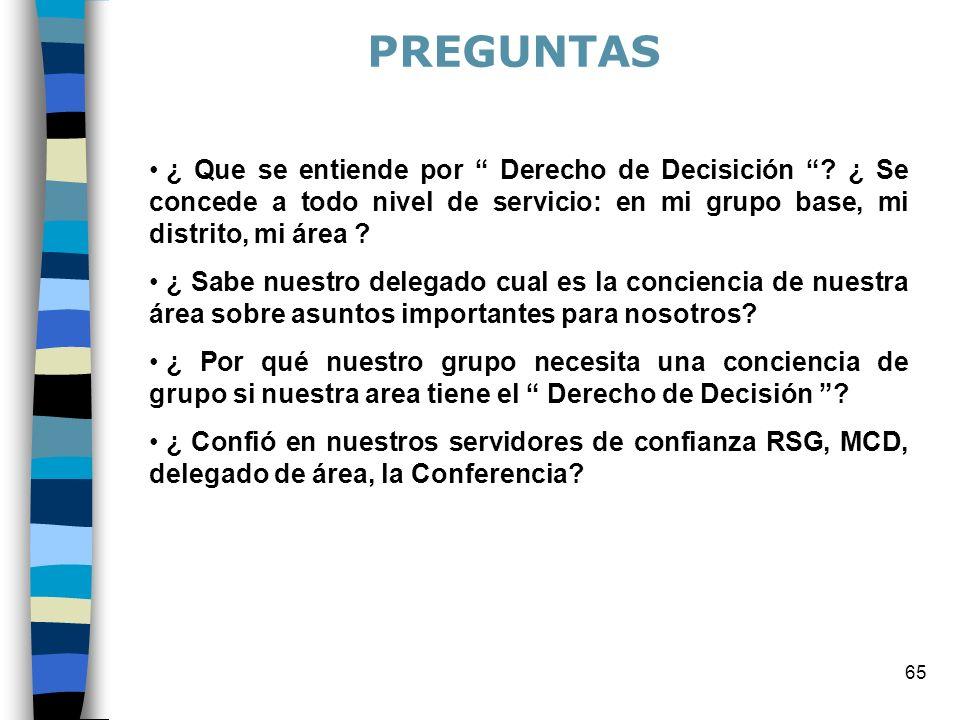PREGUNTAS ¿ Que se entiende por Derecho de Decisición ¿ Se concede a todo nivel de servicio: en mi grupo base, mi distrito, mi área