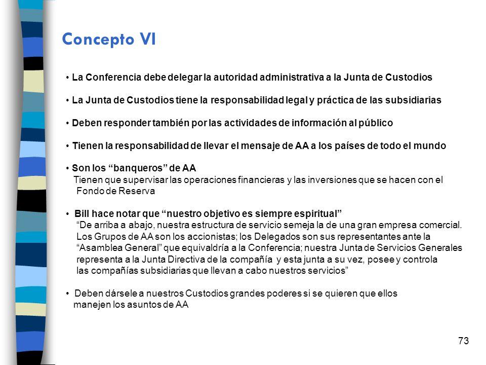 Concepto VI La Conferencia debe delegar la autoridad administrativa a la Junta de Custodios.