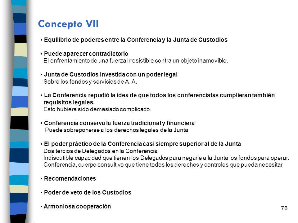 Concepto VII Equilibrio de poderes entre la Conferencia y la Junta de Custodios. Puede aparecer contradictorio.