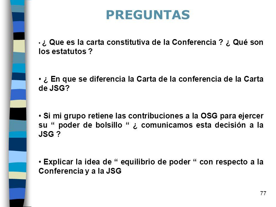 PREGUNTAS ¿ Que es la carta constitutiva de la Conferencia ¿ Qué son los estatutos
