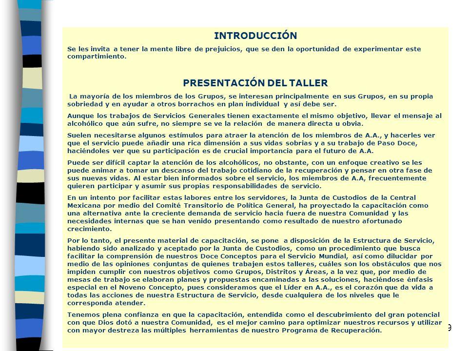 PRESENTACIÓN DEL TALLER