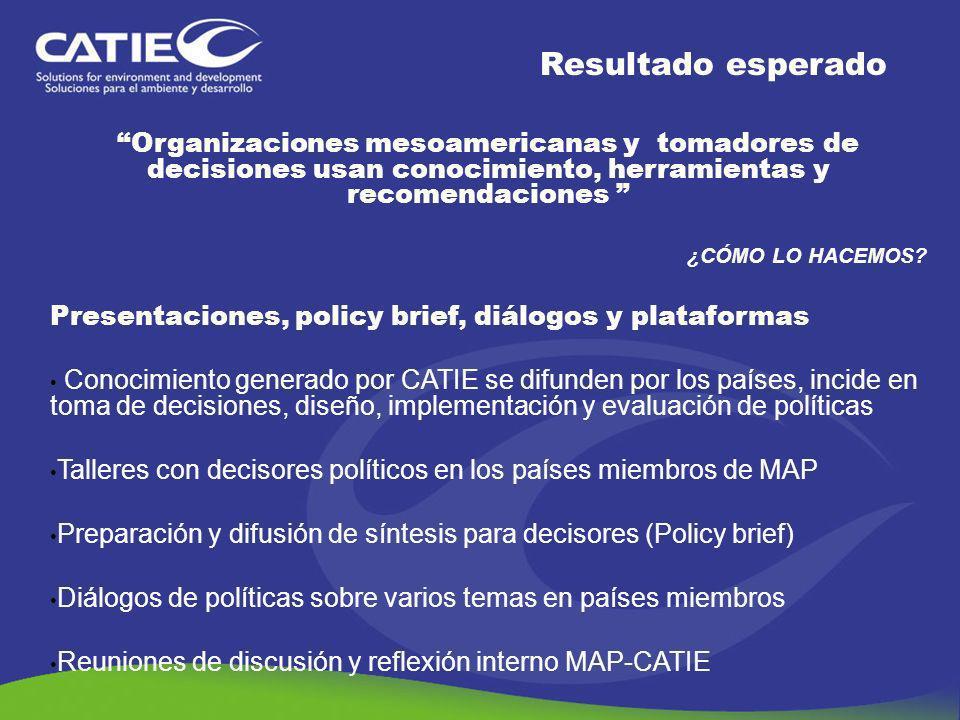 Resultado esperado Organizaciones mesoamericanas y tomadores de decisiones usan conocimiento, herramientas y recomendaciones
