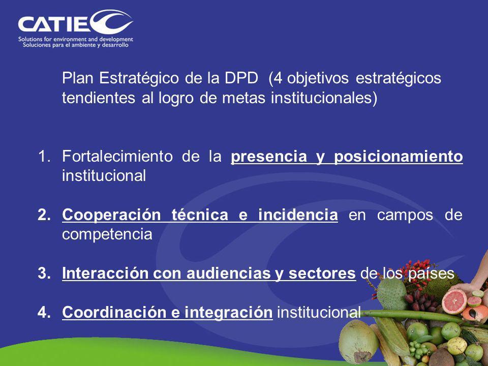 Plan Estratégico de la DPD (4 objetivos estratégicos tendientes al logro de metas institucionales)