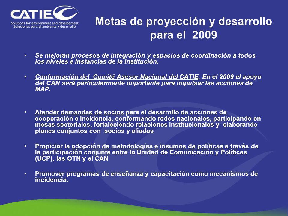 Metas de proyección y desarrollo para el 2009