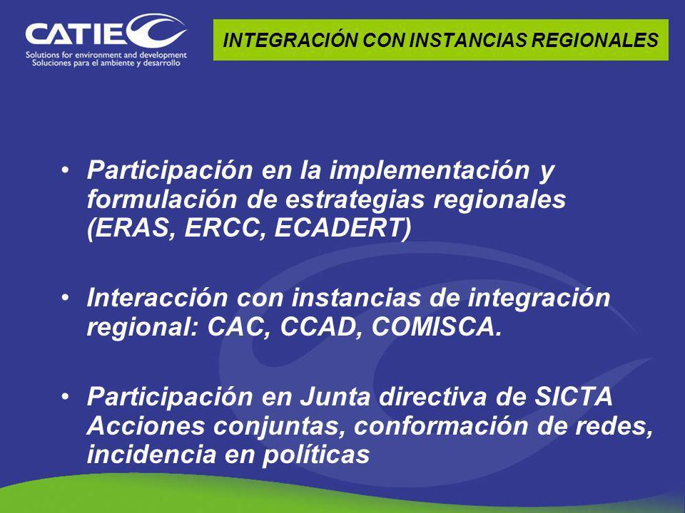 INTEGRACIÓN CON INSTANCIAS REGIONALES