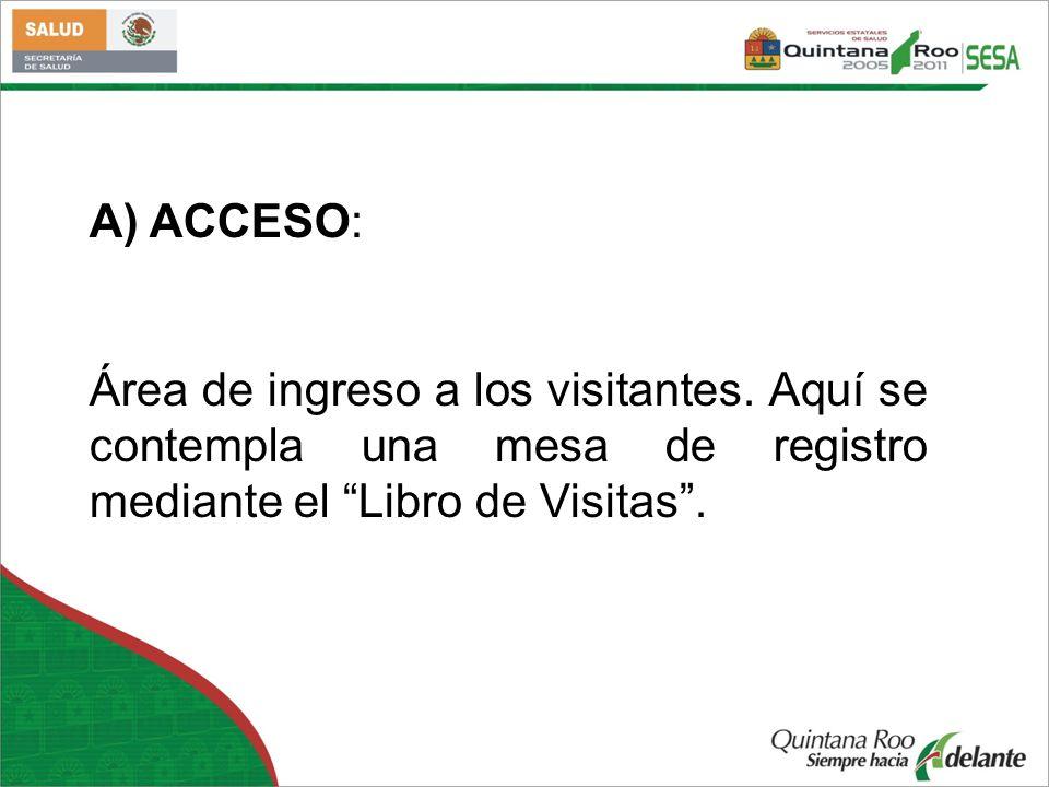 A) ACCESO: Área de ingreso a los visitantes.