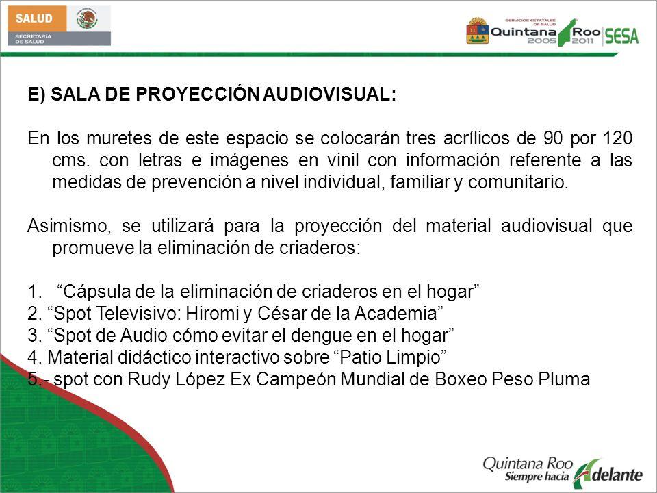 E) SALA DE PROYECCIÓN AUDIOVISUAL: