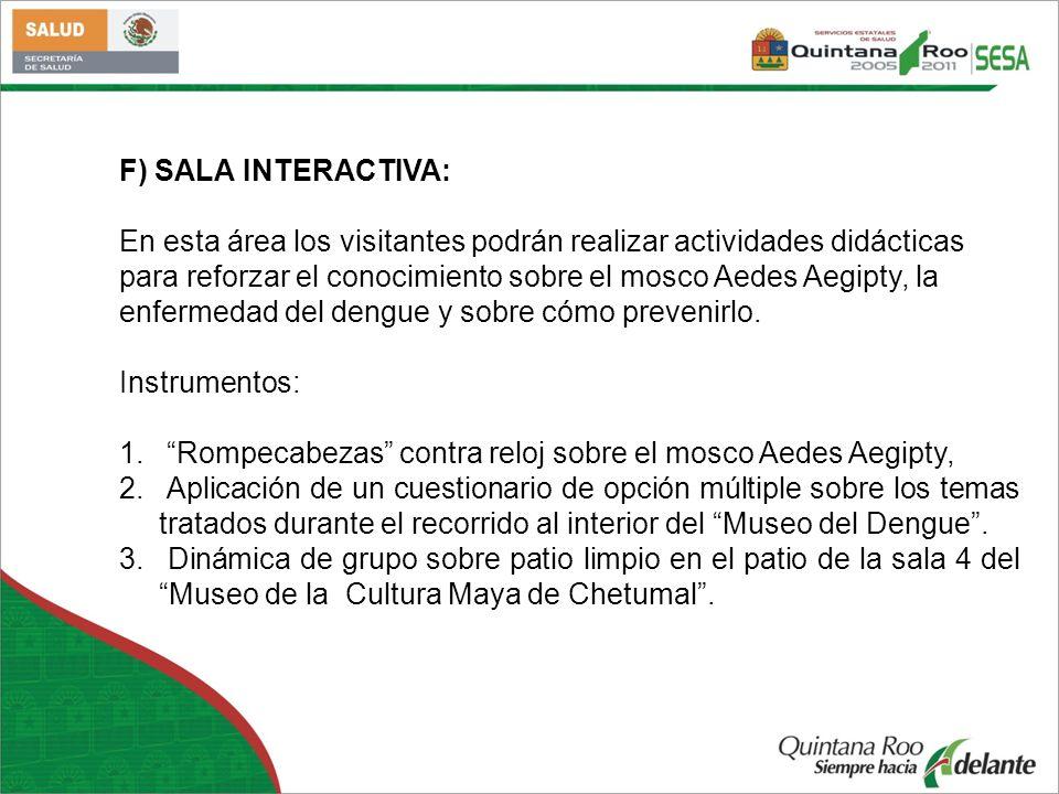 F) SALA INTERACTIVA: En esta área los visitantes podrán realizar actividades didácticas.
