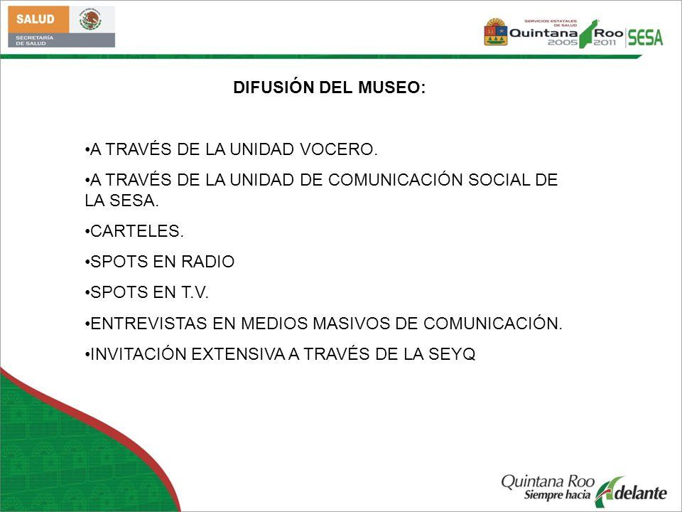 DIFUSIÓN DEL MUSEO: A TRAVÉS DE LA UNIDAD VOCERO. A TRAVÉS DE LA UNIDAD DE COMUNICACIÓN SOCIAL DE LA SESA.