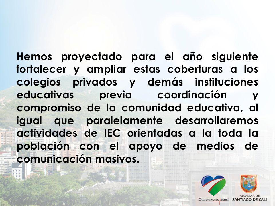 Hemos proyectado para el año siguiente fortalecer y ampliar estas coberturas a los colegios privados y demás instituciones educativas previa coordinación y compromiso de la comunidad educativa, al igual que paralelamente desarrollaremos actividades de IEC orientadas a la toda la población con el apoyo de medios de comunicación masivos.