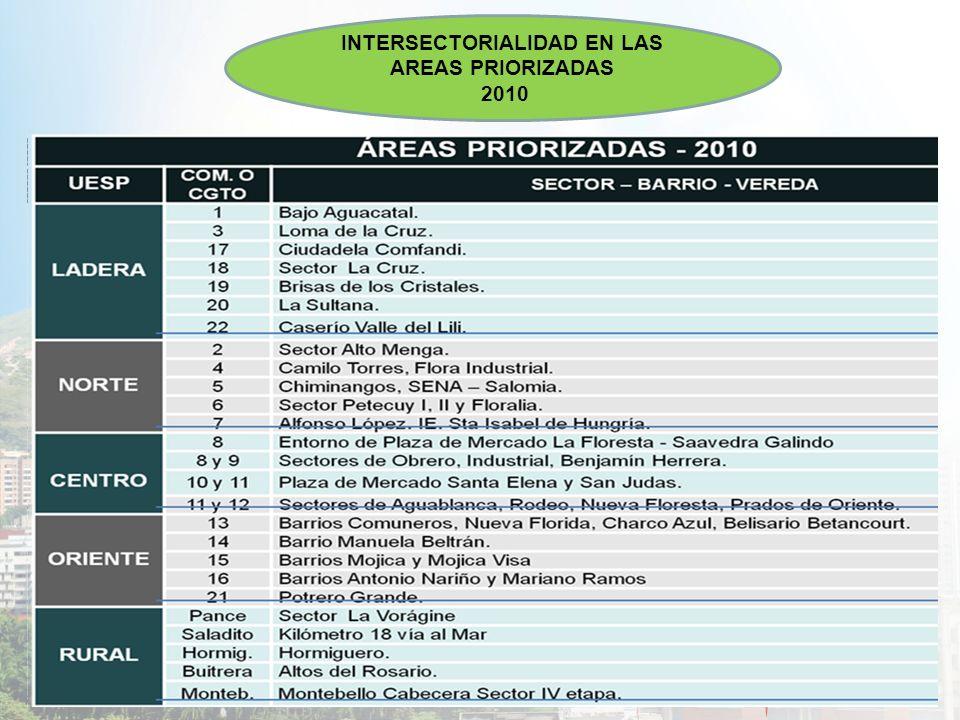 INTERSECTORIALIDAD EN LAS AREAS PRIORIZADAS