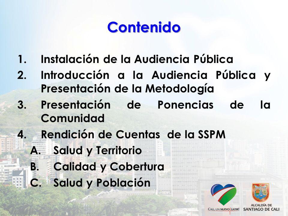 Contenido Instalación de la Audiencia Pública