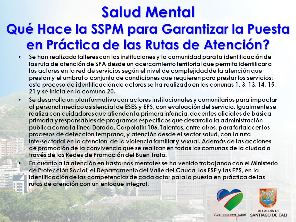 Salud Mental Qué Hace la SSPM para Garantizar la Puesta en Práctica de las Rutas de Atención