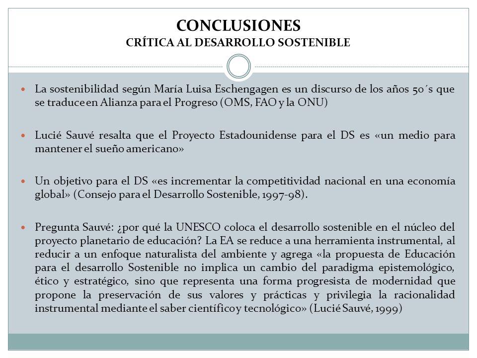 CONCLUSIONES CRÍTICA AL DESARROLLO SOSTENIBLE