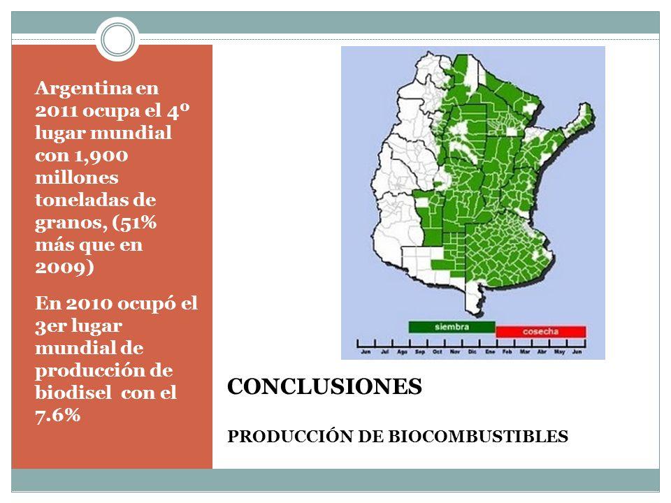 CONCLUSIONES PRODUCCIÓN DE BIOCOMBUSTIBLES