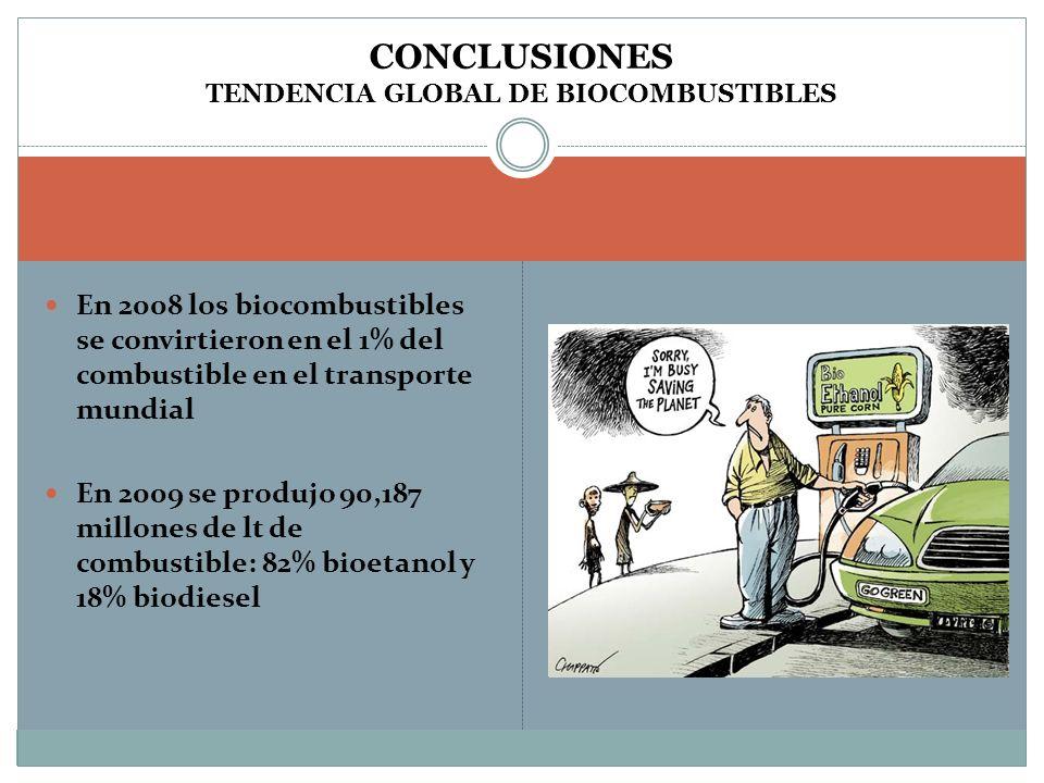 CONCLUSIONES TENDENCIA GLOBAL DE BIOCOMBUSTIBLES