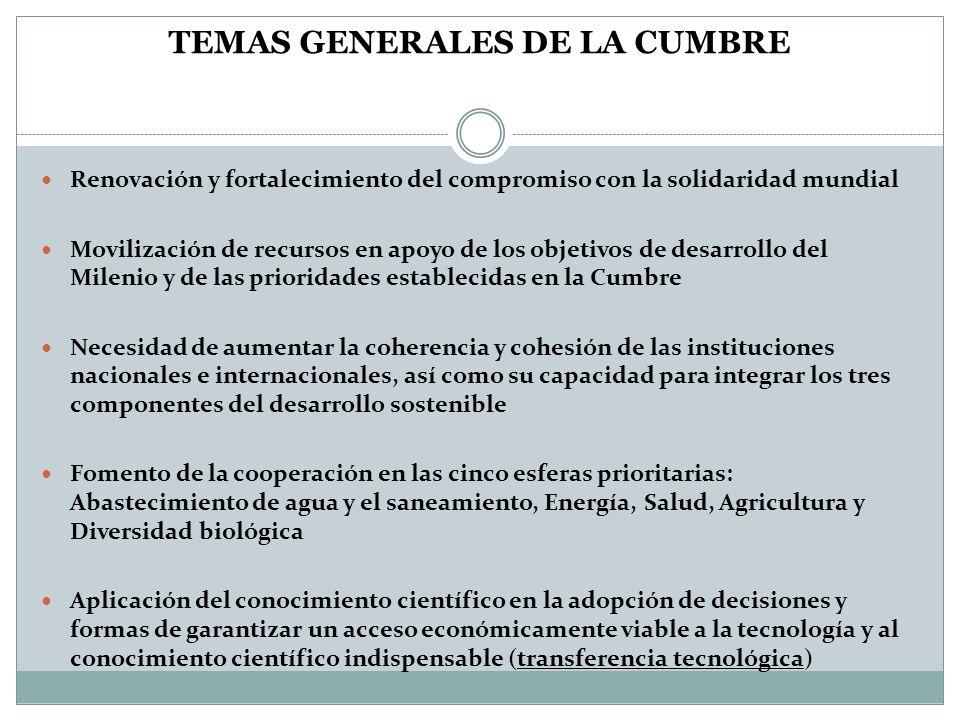 TEMAS GENERALES DE LA CUMBRE