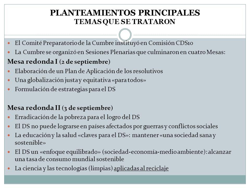 PLANTEAMIENTOS PRINCIPALES Temas que se trataron