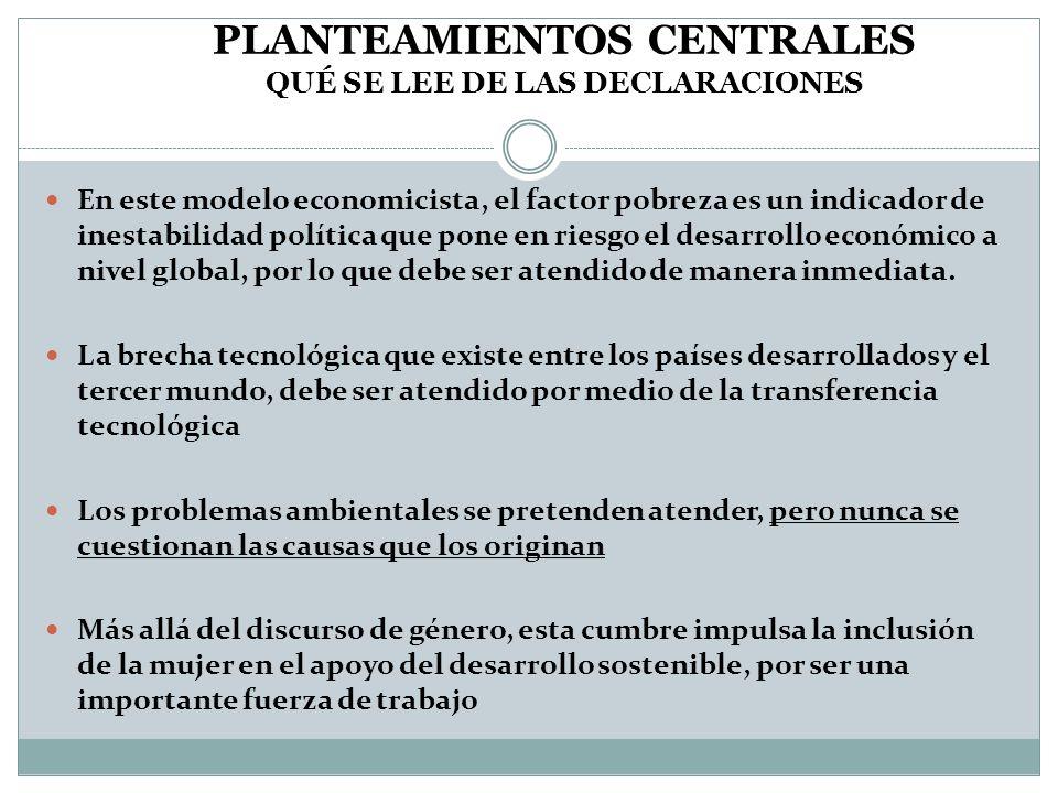 Planteamientos centrales QUÉ SE LEE DE LAS DECLARACIONES