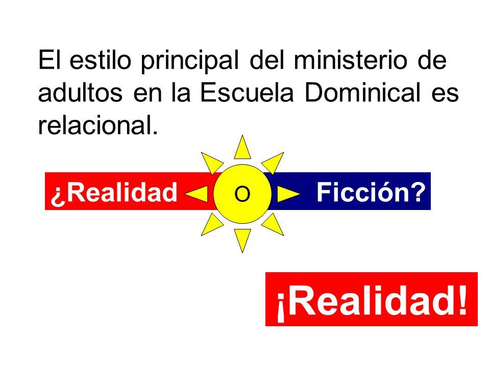 El estilo principal del ministerio de adultos en la Escuela Dominical es relacional.