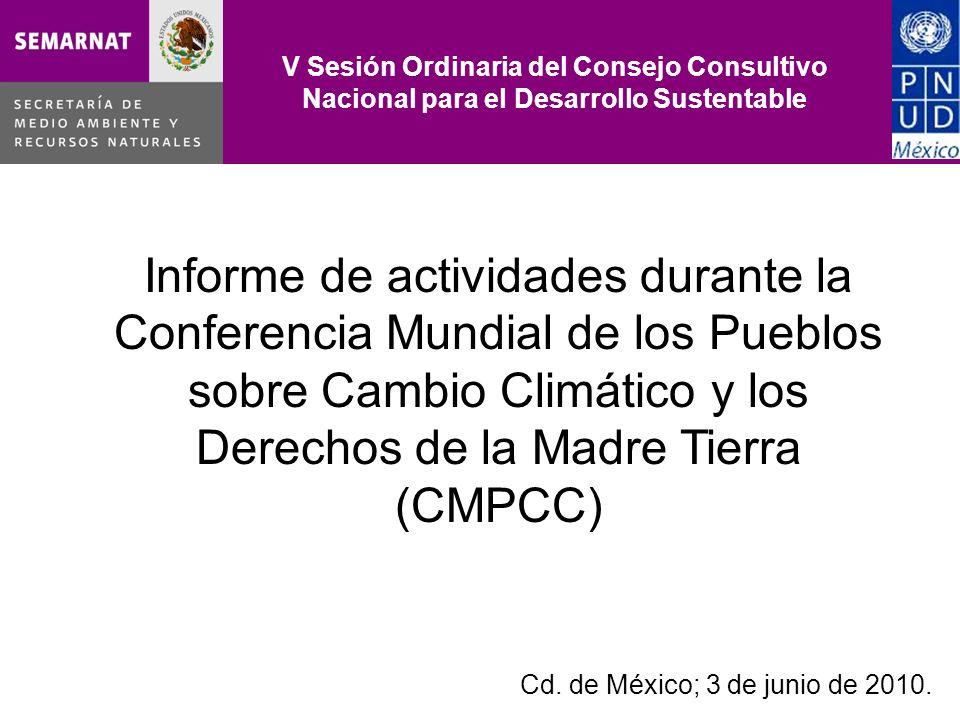 V Sesión Ordinaria del Consejo Consultivo Nacional para el Desarrollo Sustentable