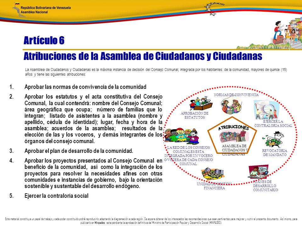 Atribuciones de la Asamblea de Ciudadanos y Ciudadanas