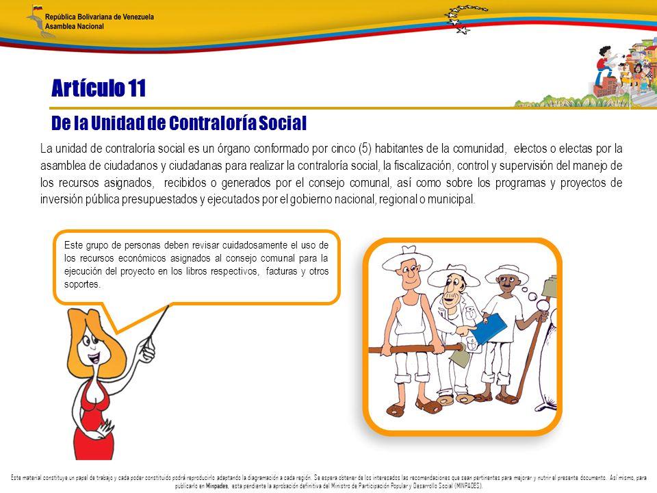 Artículo 11 De la Unidad de Contraloría Social