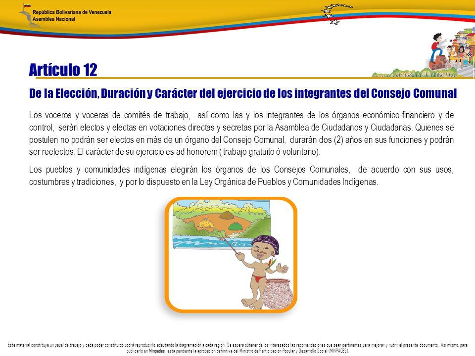 Artículo 12 De la Elección, Duración y Carácter del ejercicio de los integrantes del Consejo Comunal.