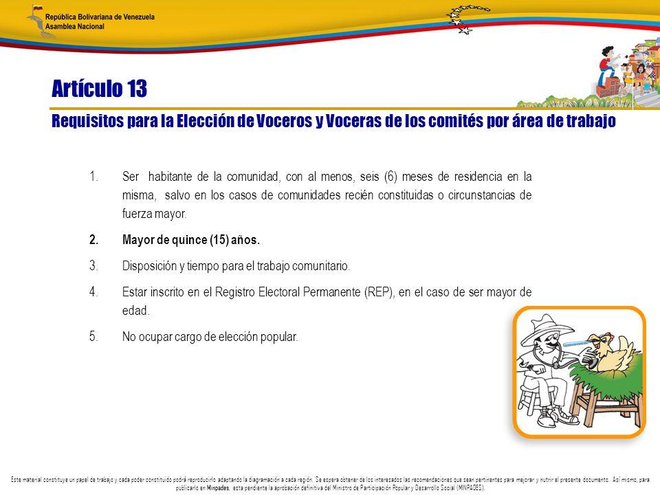 Artículo 13 Requisitos para la Elección de Voceros y Voceras de los comités por área de trabajo.