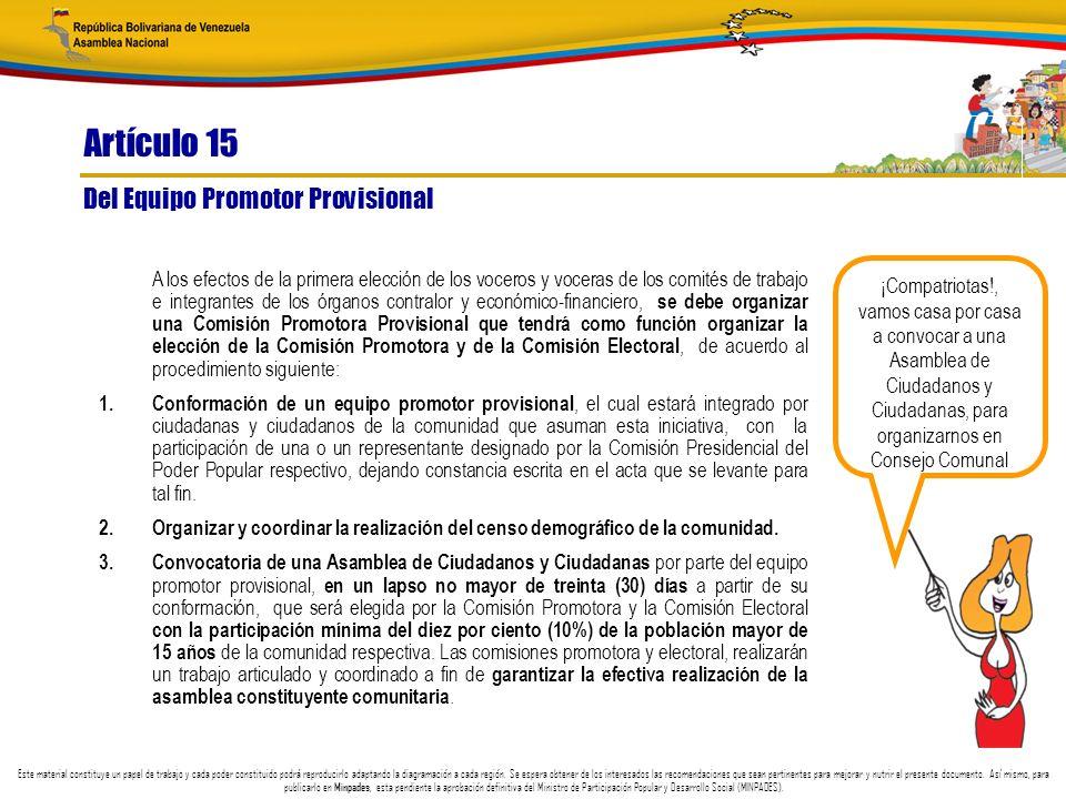 Artículo 15 Del Equipo Promotor Provisional