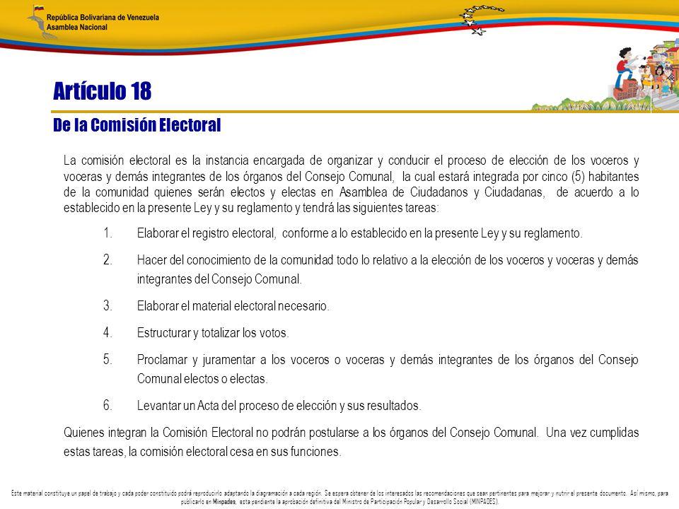 Artículo 18 De la Comisión Electoral