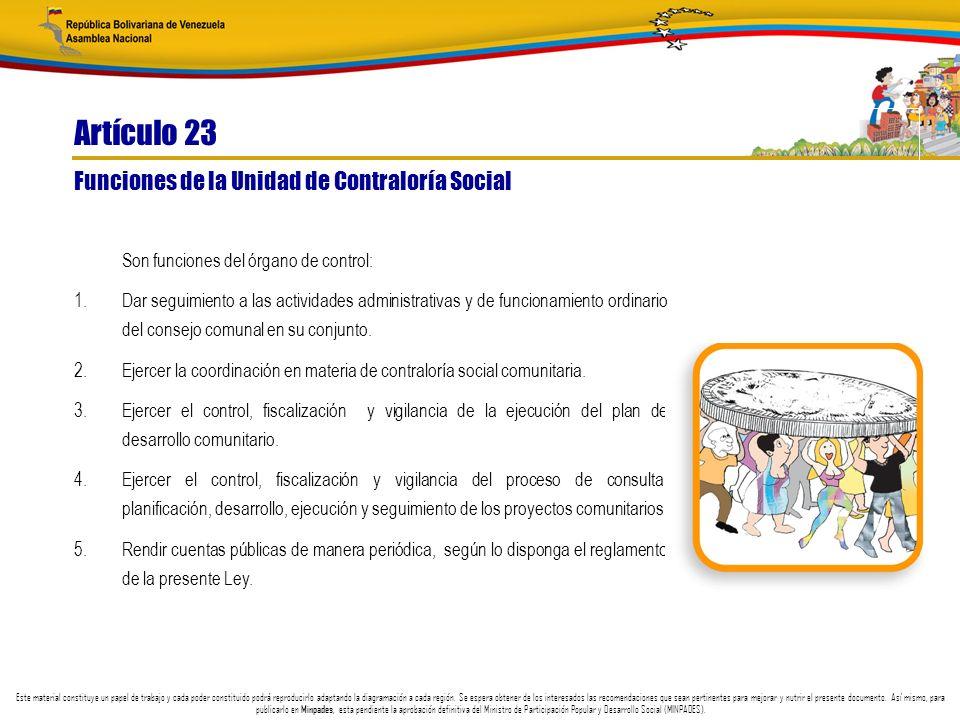 Artículo 23 Funciones de la Unidad de Contraloría Social