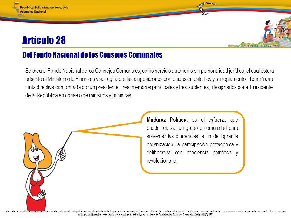 Artículo 28 Del Fondo Nacional de los Consejos Comunales