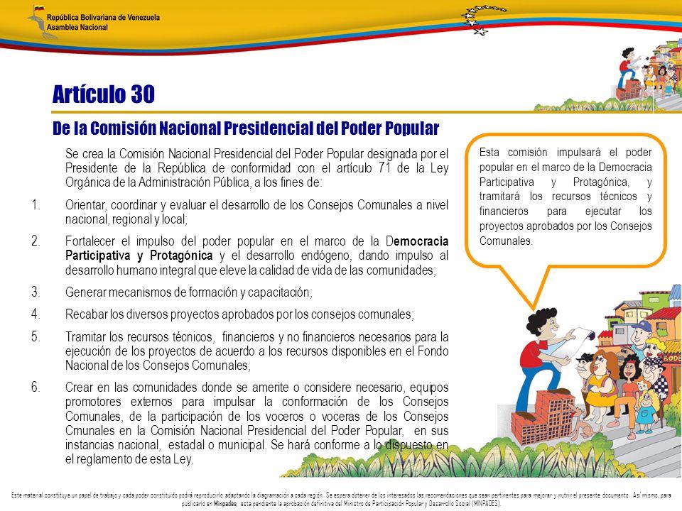 Artículo 30 De la Comisión Nacional Presidencial del Poder Popular