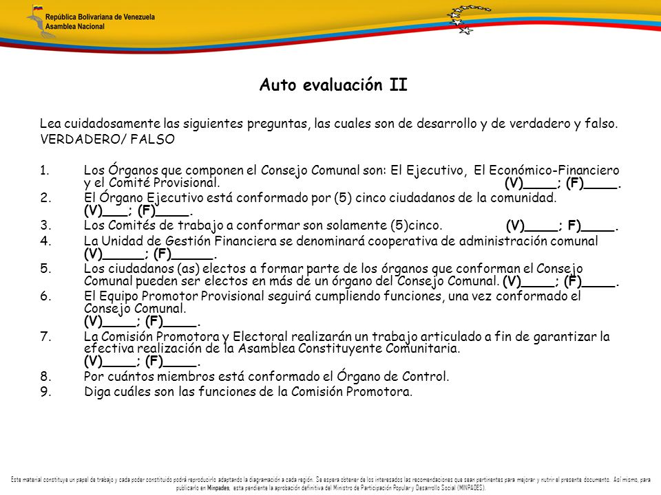 Auto evaluación II Lea cuidadosamente las siguientes preguntas, las cuales son de desarrollo y de verdadero y falso.