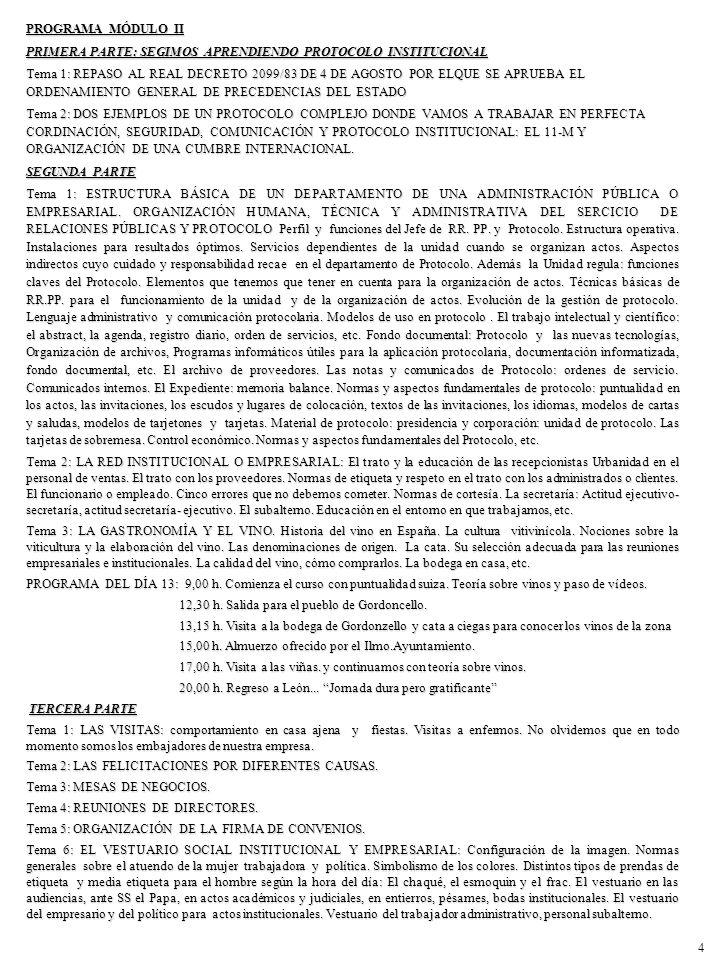 PROGRAMA MÓDULO II PRIMERA PARTE: SEGIMOS APRENDIENDO PROTOCOLO INSTITUCIONAL.