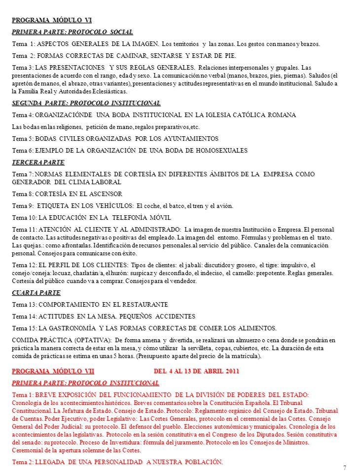 PROGRAMA MÓDULO VI PRIMERA PARTE: PROTOCOLO SOCIAL.