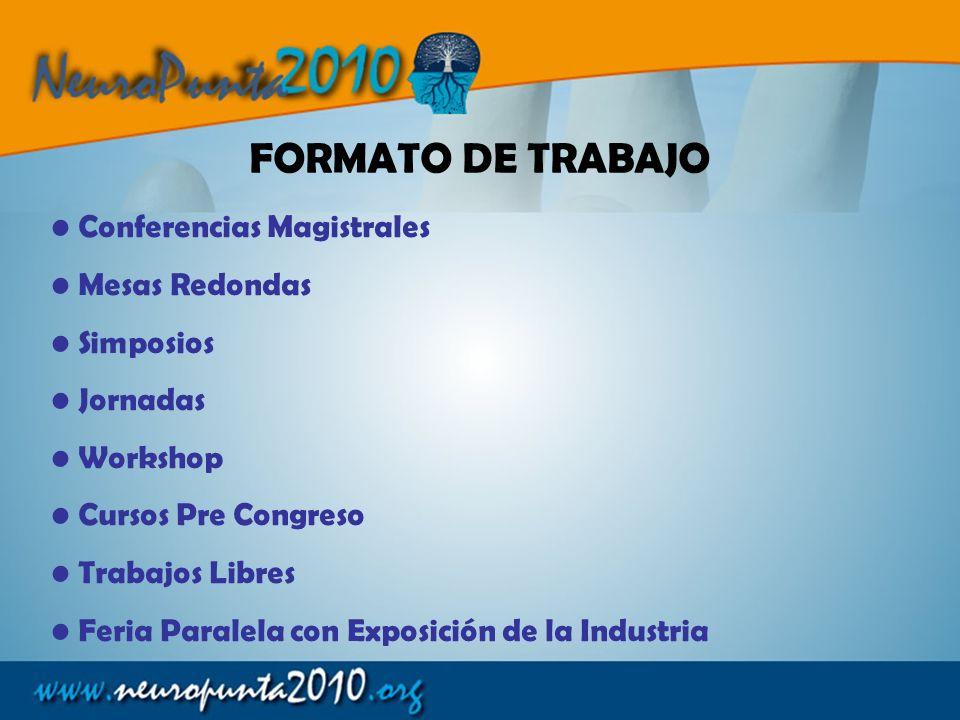 FORMATO DE TRABAJO Conferencias Magistrales Mesas Redondas Simposios