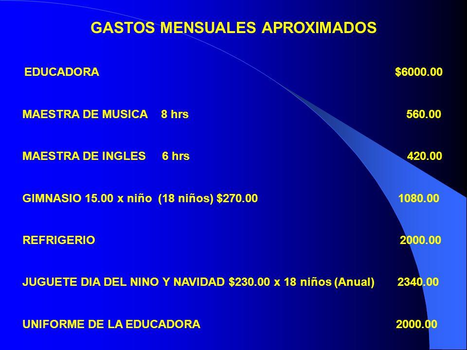 GASTOS MENSUALES APROXIMADOS