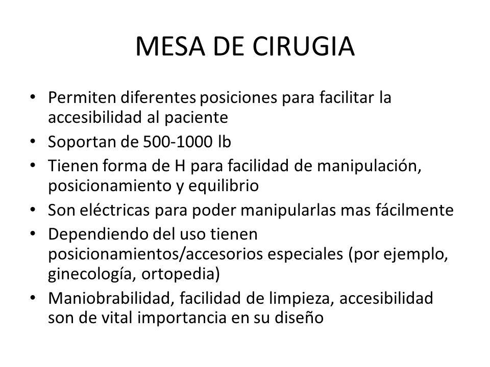 MESA DE CIRUGIA Permiten diferentes posiciones para facilitar la accesibilidad al paciente. Soportan de 500-1000 lb.