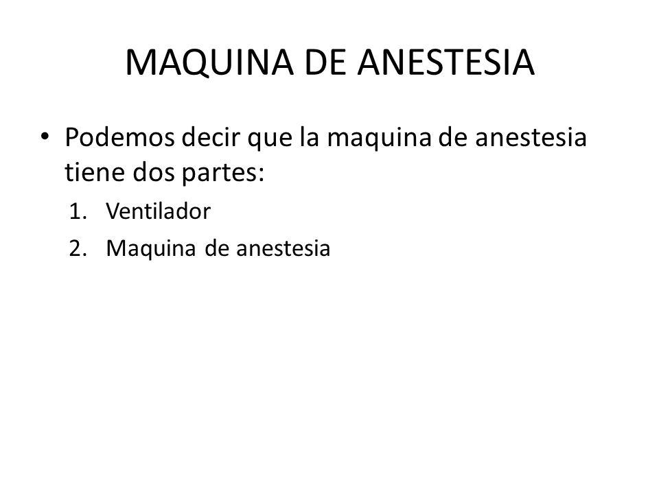 MAQUINA DE ANESTESIA Podemos decir que la maquina de anestesia tiene dos partes: Ventilador.