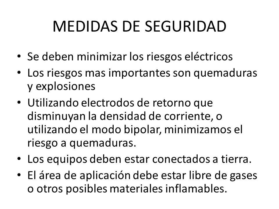 MEDIDAS DE SEGURIDAD Se deben minimizar los riesgos eléctricos